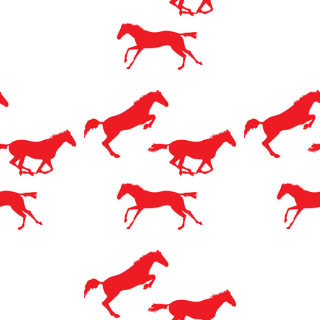 Red horse seamless pattern on isolated background. Background with Equine sports theme. Running and jumping herd of horses. seamless pattern with horses