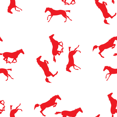Seamless pattern with silhouette of horse. Horse racing image for background. seamless pattern with horses. Red horse seamless pattern on isolated background