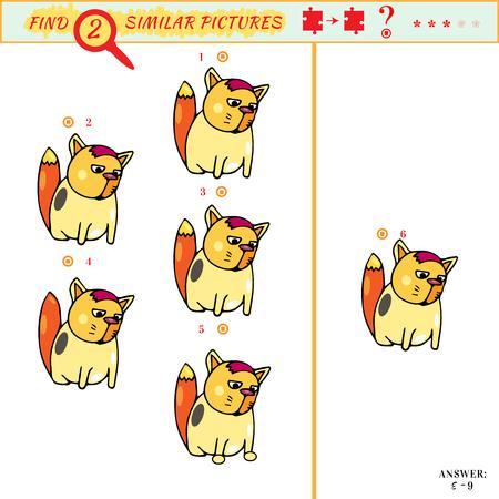 identical: Visual puzzle for children. Visual puzzle: Match Find two identical picture. Find two identical kitten Illustration