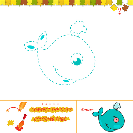 Jigsaw rebus for baby. Cartoon Illustration of Drawing Educational Task for Preschool Children with whale Illustration