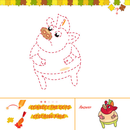 joining the dots: Art and creations educational brain. Cartoon Illustration of Drawing Educational Task for Preschool Children with boar rocker Illustration