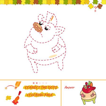 Art and creations educational brain. Cartoon Illustration of Drawing Educational Task for Preschool Children with boar rocker Illustration