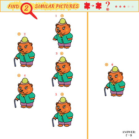 Matching game for preschool age. Visual puzzle: Find two identical images of bear