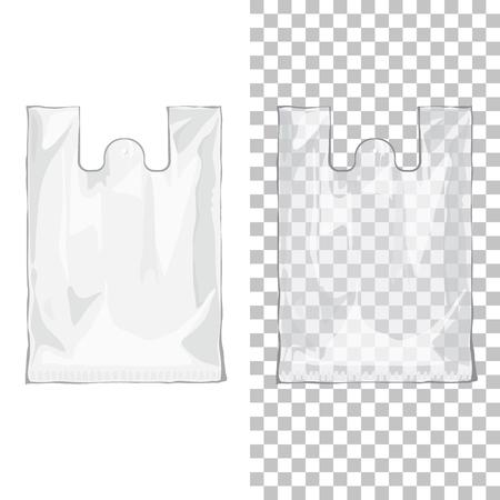 使い捨ての t シャツ プラスチック袋透明と白の色です。孤立した背景にナイロンの空パッケージ  イラスト・ベクター素材