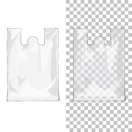 Disposable T-Shirt plastic bags transparent and white color. Nylon blank package on isolated background Illustration