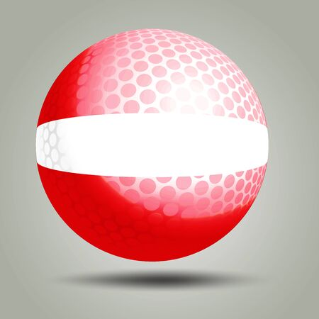 latvia flag: illustration of golf ball with Latvia flag