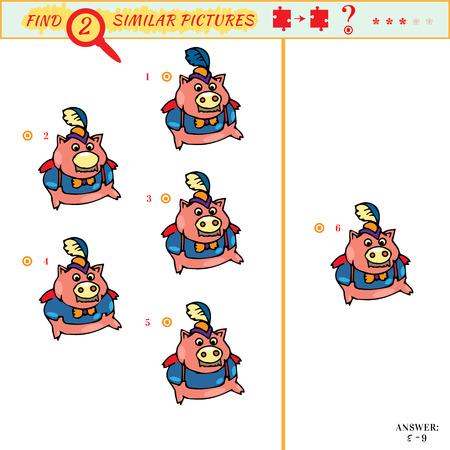 Trova le stesse immagini figli gioco educativo. Trova due piggy identici
