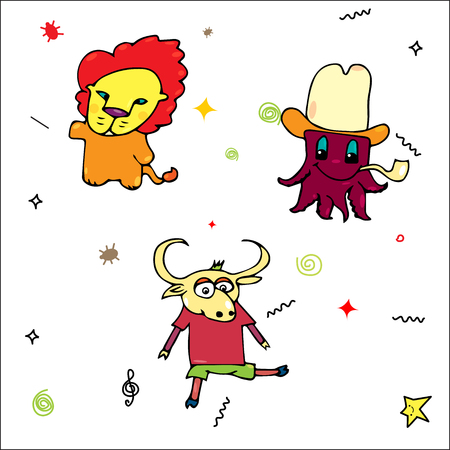 Collection of cartoon leo bull and octopus. Funny octopus in hat and with Tobacco pipe