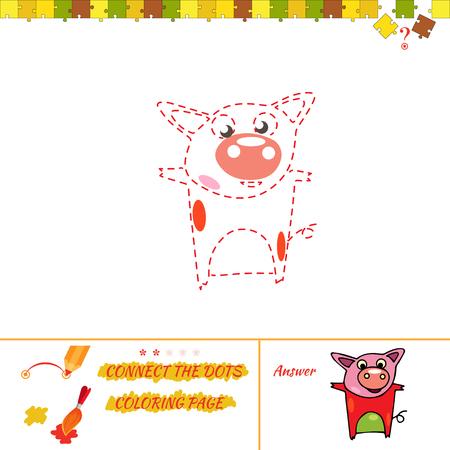 Visual game for kids. Education game for preschool child. Cartoon Illustration of Drawing Educational Task for Preschool Children with pig