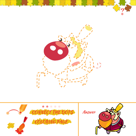 funny baby: Education game for preschool child. Funny painting creations for kids. jigsaw rebus for baby. Cartoon Illustration of Drawing Educational Task for Preschool Children with boar Illustration