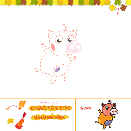Funny painting creations for kids. Jigsaw rebus for baby. Cartoon Illustration of Drawing Educational Task for Preschool Children with piglet Illustration