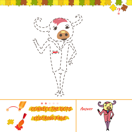 Coloring page educational children game. Drawing game for kids and coloring page. Cartoon Illustration of Drawing Educational Task for Preschool Children with cow
