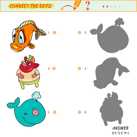 Picture Connect the dots. Match the pictures of pig, fish and  whale to their shadows.