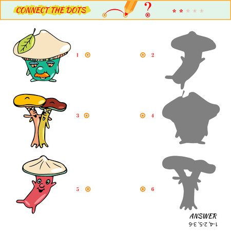 Match the pictures to their shadows. Cartoon illustration of fungi Illustration