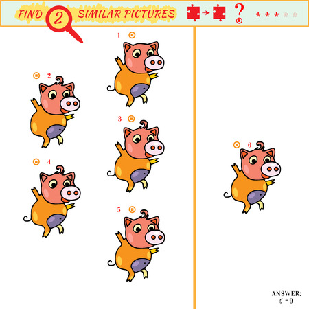 Find equal pairs kids activity. Find two identical porky