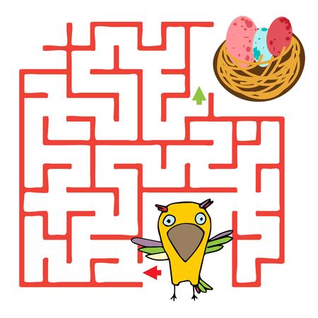 Maze game for kids geometric shape. Cartoon bird character Illustration