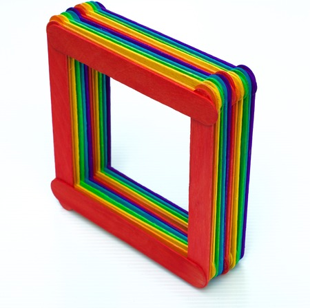 three dimension shape: colourful handmade box