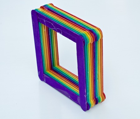 three dimension shape: colourful handmade square box Stock Photo