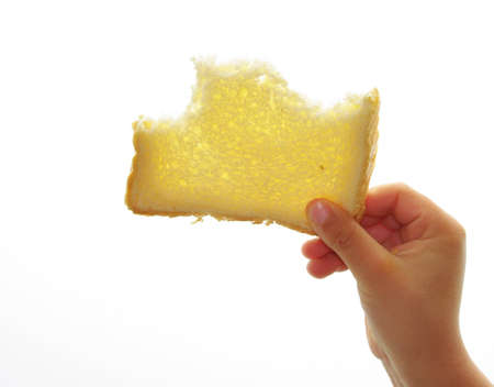 bread mold: child with a slice of bread mold