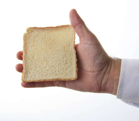 bread mold: A slice of bread mold with a white background