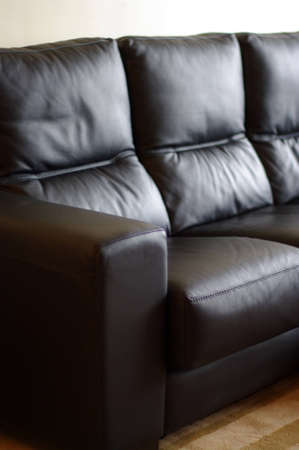3dmax: Part of a black leather sofa