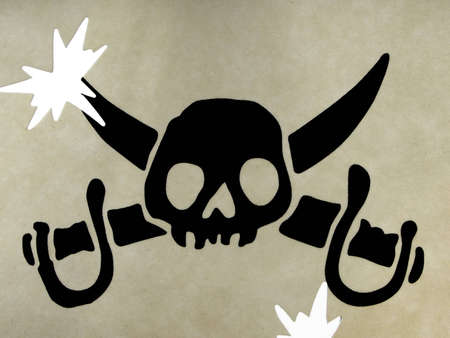 Drawing of a skull, the symbol of the pirates photo
