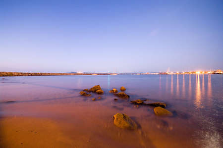 mediterraneo: Sunrise in the beach Stock Photo