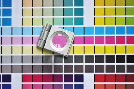Color scales and loupe used for digital printing process