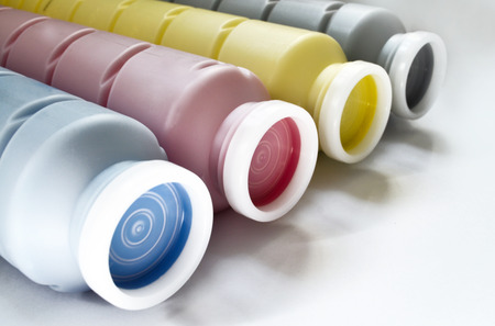 Color toners on the white background from close up