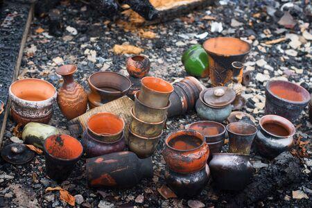 burnt pots after the fire Stock fotó