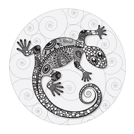 Dibujo estilizado de un lagarto. Silueta lagarto cubierto diversos patrones simples. Dibujado a mano ilustración del vector del Doodle blanco y negro. Boceto para tatuaje. Foto de archivo - 45260802