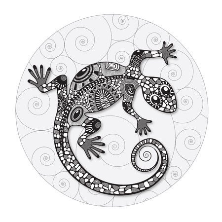 Stylized drawing of a lizard. Lizard silhouette covered various simple patterns. Black and white hand drawn doodle vector illustration. Sketch for tattoo.