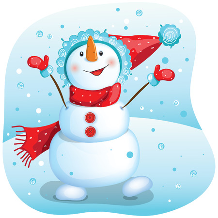 Happy snowman. Christmas illustration. Vector drawing of a snowman wearing a red Christmas hat. Illustration
