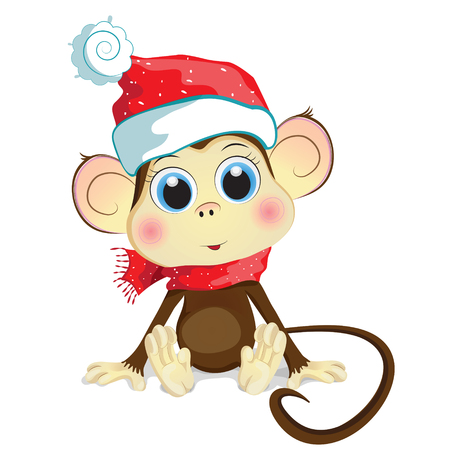 mischief: Cartoon vector illustration of a pretty baby monkey sitting on the floor and wearing a red knitted hat and scarf. The monkey, a symbol of the new 2016 year.