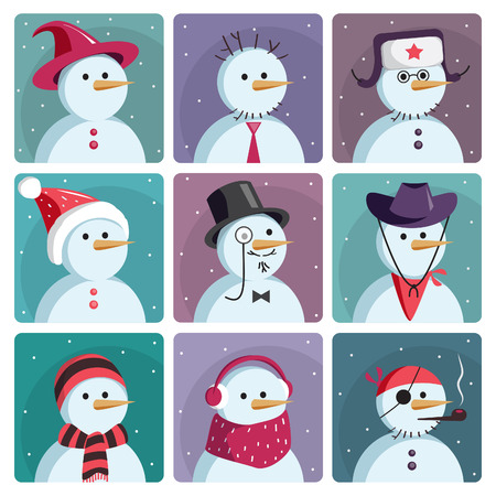 snowman hat: Set of nine snowmen dressed in different clothes. Vector illustration set of vector icons. Illustration