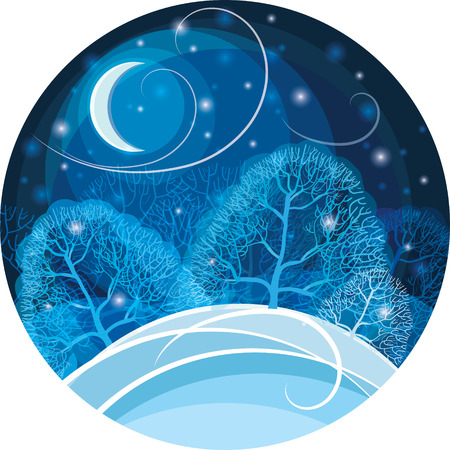 snow drifts: Winter night in the forest. Vector illustration.