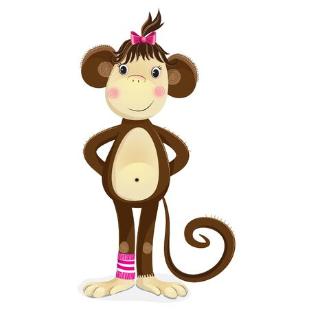 lazo rosa: El mono, un s�mbolo del nuevo a�o. Ilustraci�n vectorial de dibujos animados de mono lindo chica con un lazo rosa en la cabeza de pie y sonriendo.