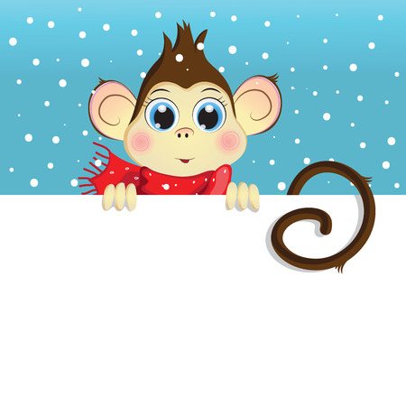 banner orizzontali: Vector cartoon illustration of a baby monkey holding a white horizontal banner. winter background. Greeting Card Happy New Year.