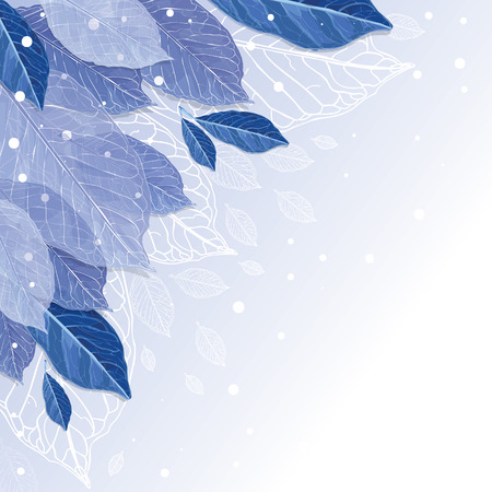rime frost: Frozen leaves vector; background. Autumn leaves covered with snow. Winter is coming.