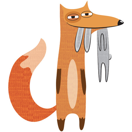 Funny vector illustration of a cartoon fox holding a rabbit in his teeth. Happy fox caught the hare.