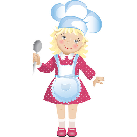 friendliness: Vector illustration of a cute blond girl dressed in a chefs hat and apron, holding a spoon. The girl wears a pink dress with polka dots.