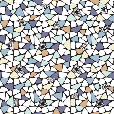 randomly: Mosaic of triangles randomly placed. Pastel colors: yellow, blue, purple, orange.