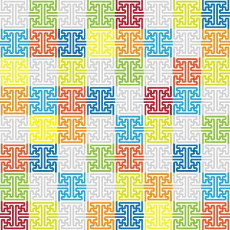 node: seamless pattern of crossed lines.Ethnic element node, random colored cell.