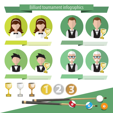 categories: Infographics for billiards. Vector infographics billiard tournaments. Categories of players and winners of the tournament. The first, second and third place. Cups and medals.  Billiards icons.