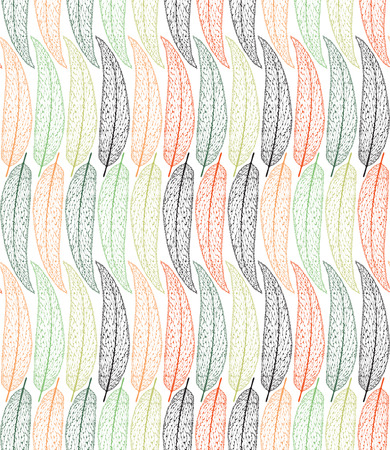 veins: Seamless vector pattern. Silhouettes of leaves with veins. Colorful leaves. Illustration