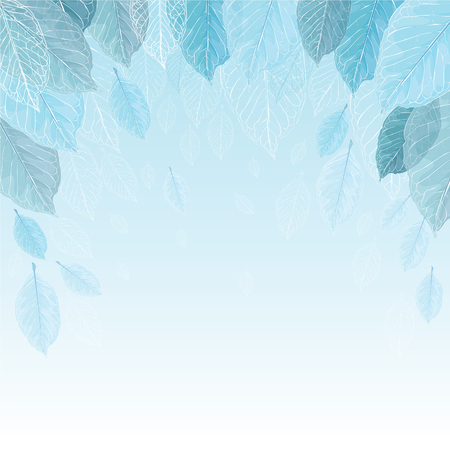veins: Vector illustration background of leaves in the frost. Transparent leaves blue silhouettes of leaves with veins.