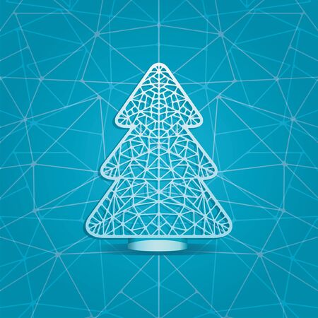 cuttings: Stylized vector illustration of a Christmas tree in the form of paper lace. Christmas tree stylized cutting paper. The central object on a blue background.