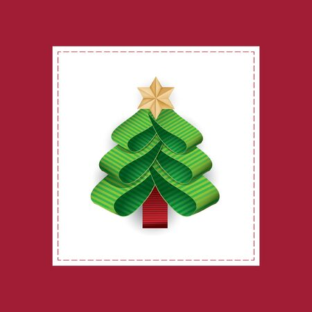 cuttings: Vector stylized Christmas tree from ribbons.Vector illustration of a Christmas tree of green ribbon with a gold star on top.