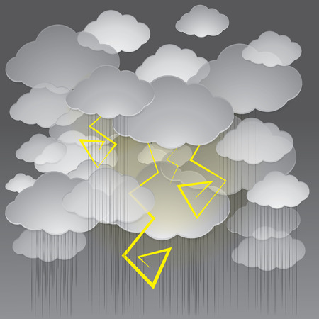 Vector background of a stormy sky. The sky is covered with dark clouds, heavy rain pours and flash of lightning.