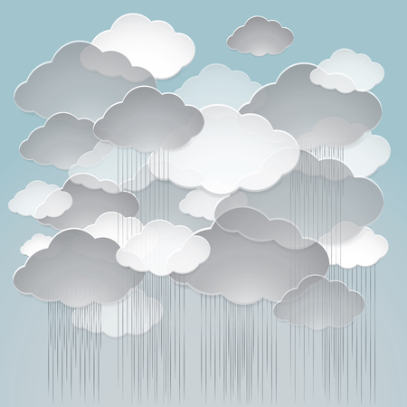 Vector illustration of a rainy overcast weather. Vector background of the sky is covered with gray and white clouds.